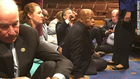 Congressman John Lewis and other House members sitting in on the floor of Congress to demand action on gun safety and gun control.