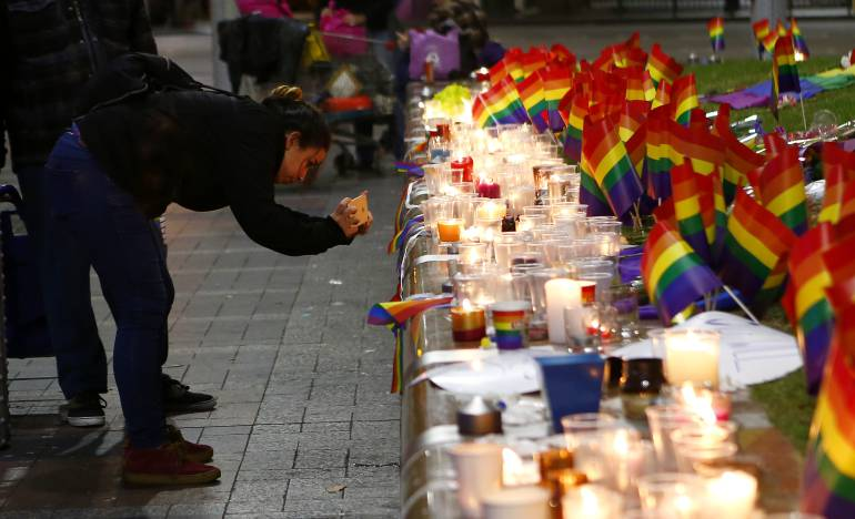 Candles lit for victims of Orlando shooting at Pulse nightclub, June 2016.