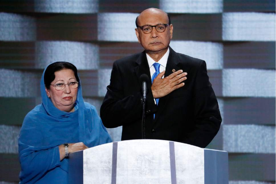 Khizr and Ghazala Khan at the Democratic National Convention, speaking about their son Captain Humayun Khan