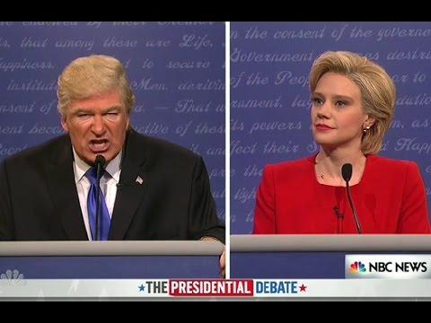 Alec Baldwin and Kate McKinnon play Donald Trump and Hillary Clinton in an SNL debate skit