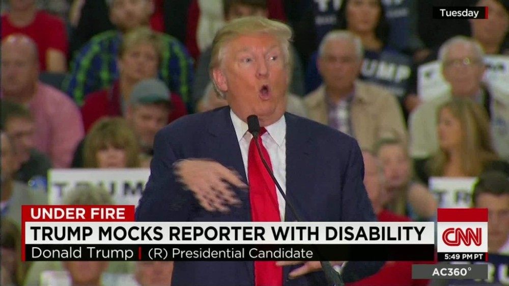 Donald Trump mocks disabled reporter at rally